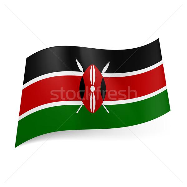 Vlag Kenia zwarte Rood groene horizontaal Stockfoto © dvarg