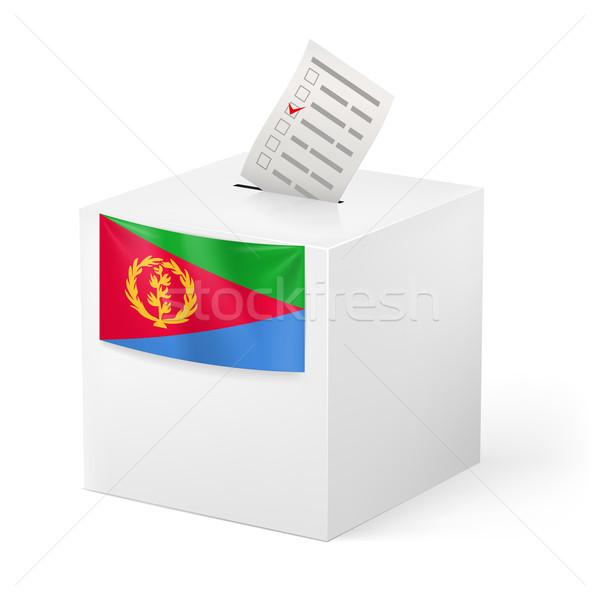 Szavazócédula doboz szavazás papír Eritrea választás Stock fotó © dvarg