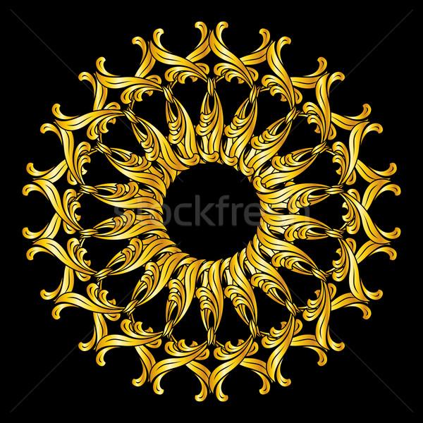 Zdjęcia stock: Kwiatowy · wzór · złoty · kolory · czarny