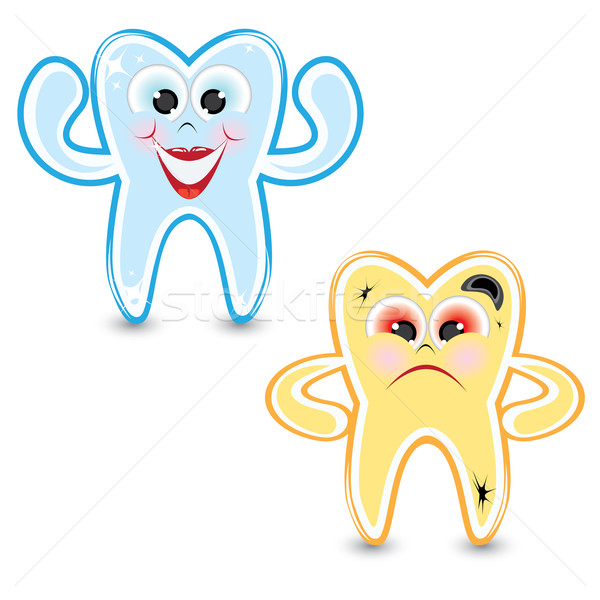 Stock photo: Cartoon healthy and diseased tooth