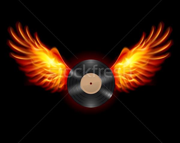 Vliegen vinyl record lp vleugels brand Stockfoto © dvarg