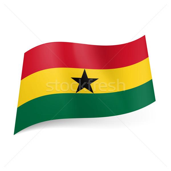 флаг Гана красный желтый зеленый горизонтальный Сток-фото © dvarg