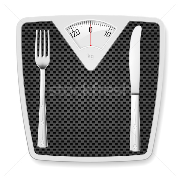 Bathroom scales with fork and knife. Stock photo © dvarg