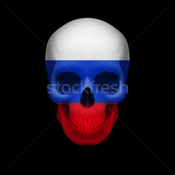 Russian flag skull Stock photo © dvarg
