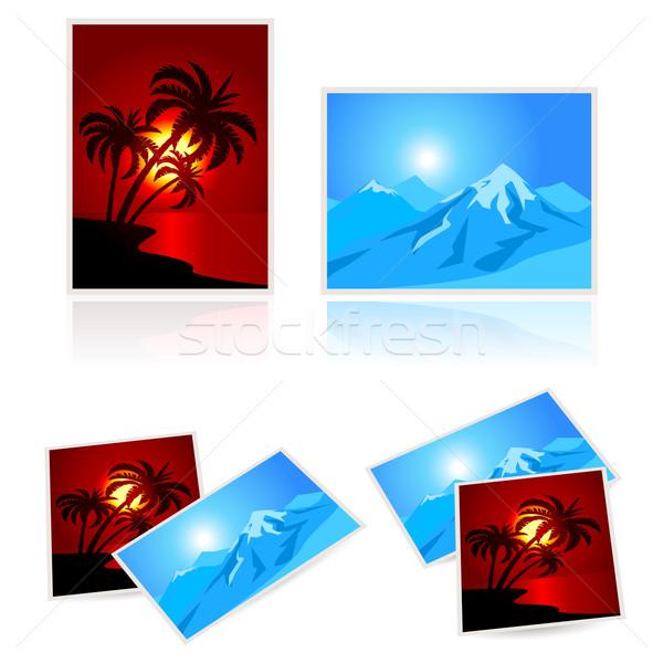 Képek vakáció illusztráció fehér égbolt papír Stock fotó © dvarg
