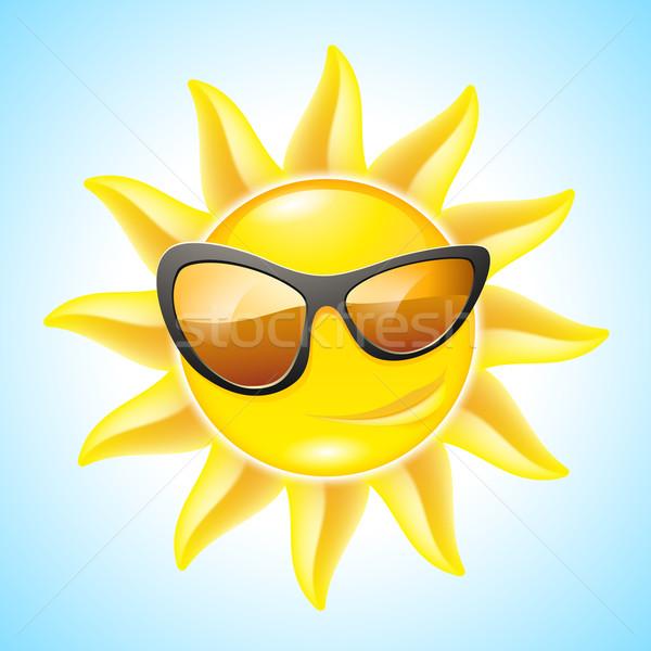 Cartoon sole divertente occhiali da sole vedere Foto d'archivio © dvarg