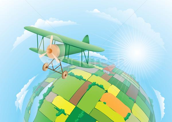 полях иллюстрация биплан Flying текстуры облака Сток-фото © dvarg