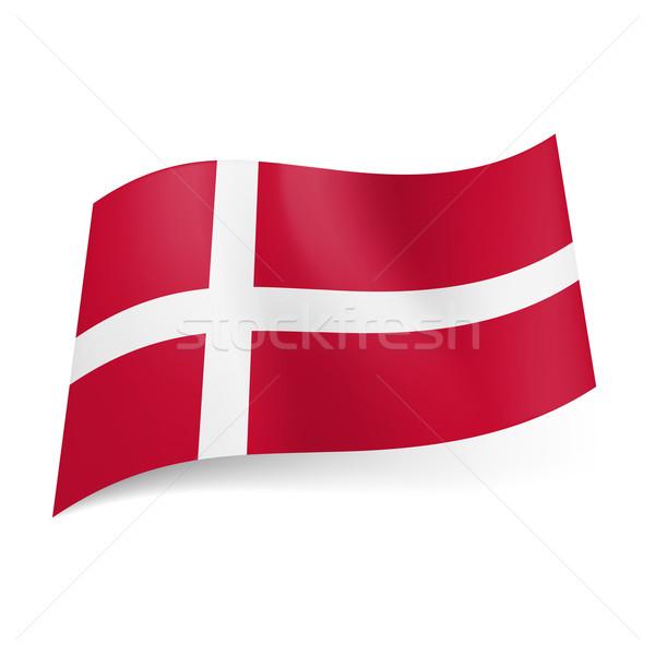 Vlag Denemarken witte kruis Rood ontwerp Stockfoto © dvarg