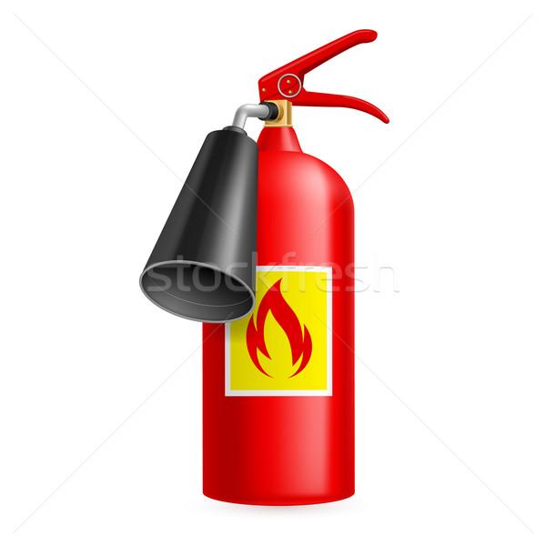 Stok fotoğraf: Yangın · söndürücü · kırmızı · yalıtılmış · beyaz · yangın · güvenlik