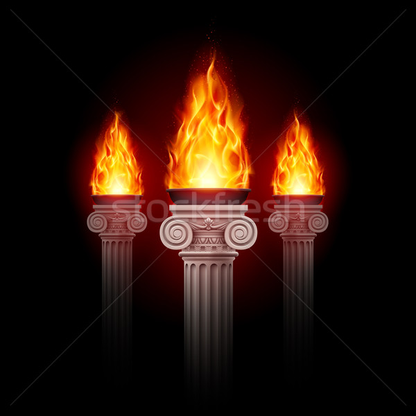 Columns with fire Stock photo © dvarg