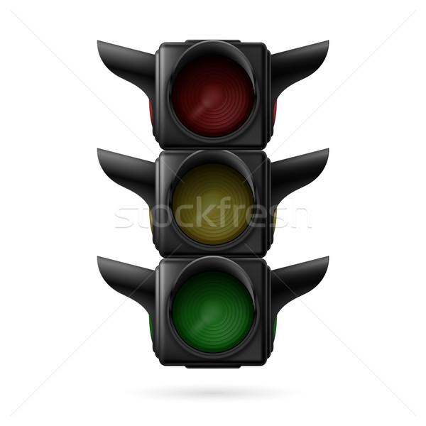 Stoplicht af realistisch verkeerslichten alle drie Stockfoto © dvarg