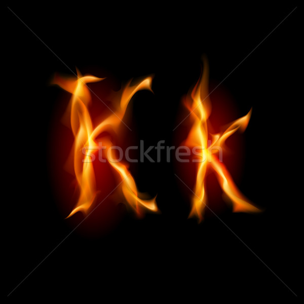 Fiery font. Letter K  Stock photo © dvarg