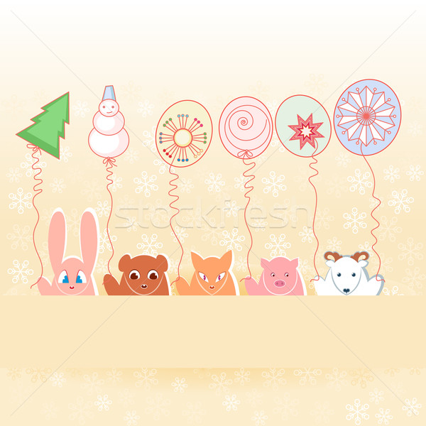 Dieren nieuwe jaren ballonnen illustratie pastel Stockfoto © dvarg