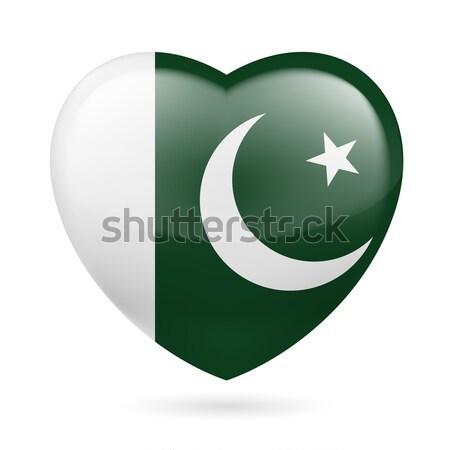 Szív ikon Pakisztán pakisztáni zászló színek Stock fotó © dvarg