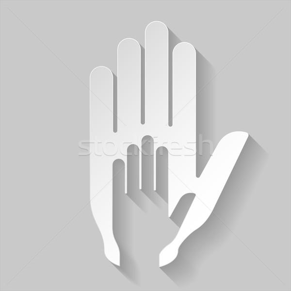 Papír segítő kéz stilizált illusztráció segítség támogatás Stock fotó © dvarg