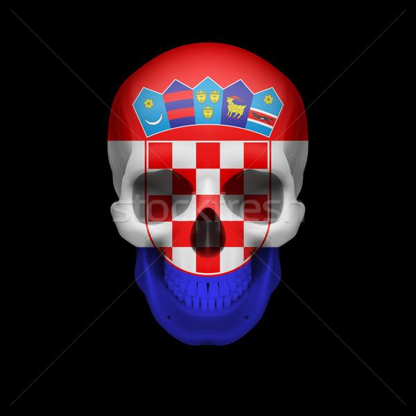 Croatian flag skull Stock photo © dvarg