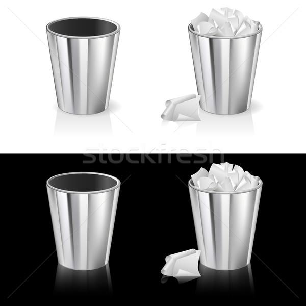 набор мусорный ящик изолированный белый черный городского Сток-фото © dvarg