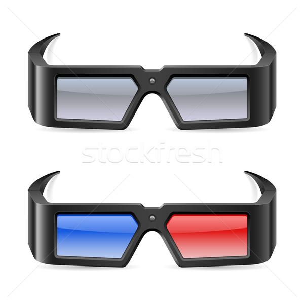 3D cine gafas ilustración blanco película Foto stock © dvarg