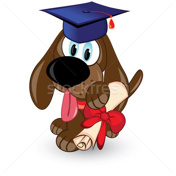 Desenho animado cão pós-graduação ilustração branco sorrir Foto stock © dvarg