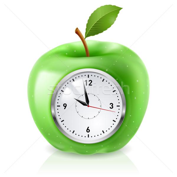 зеленый яблоко часы реалистичный иллюстрация белый Сток-фото © dvarg