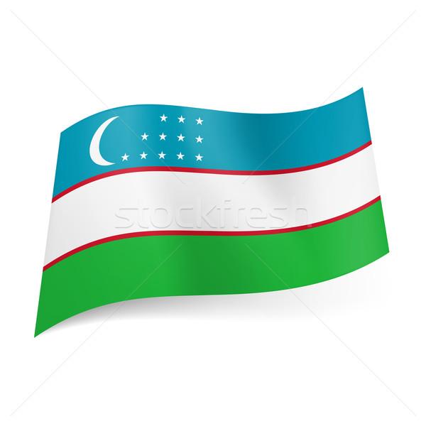 Bayrak Özbekistan mavi beyaz yeşil yatay Stok fotoğraf © dvarg