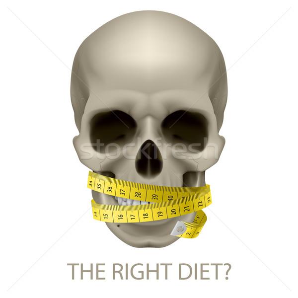 Ongezond dieet schedel meetlint tekst symbool Stockfoto © dvarg