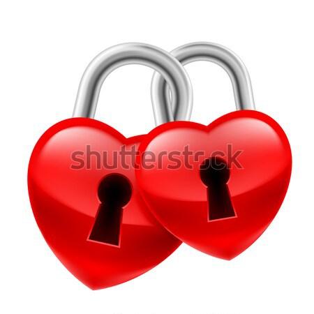 Hangslot hart Rood sleutel gat leven Stockfoto © dvarg