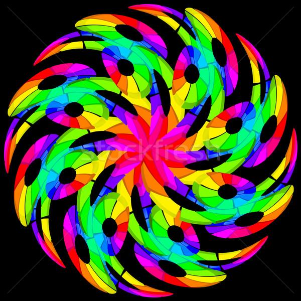 Hipnótico cor redemoinho ilustração preto textura Foto stock © dvarg