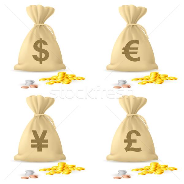 Stock fotó: Pénz · szatyrok · szett · illusztráció · fehér · narancs