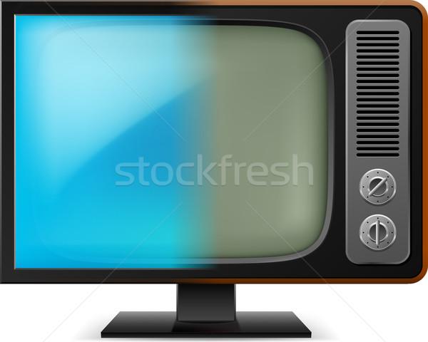 Сток-фото: старые · телевидение · иллюстрация · белый · дизайна · домой