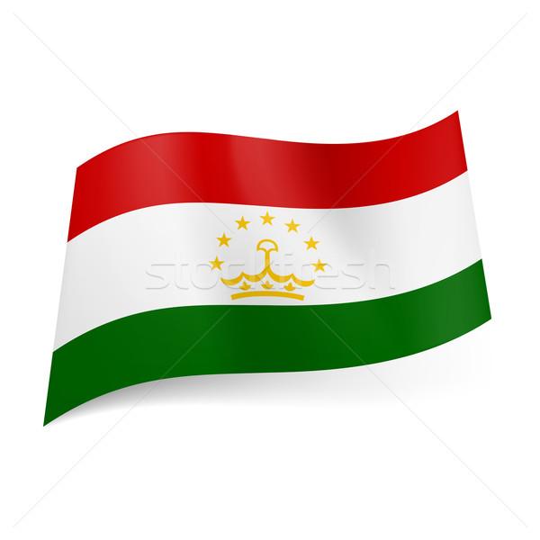 Zászló Tádzsikisztán piros fehér zöld vízszintes Stock fotó © dvarg