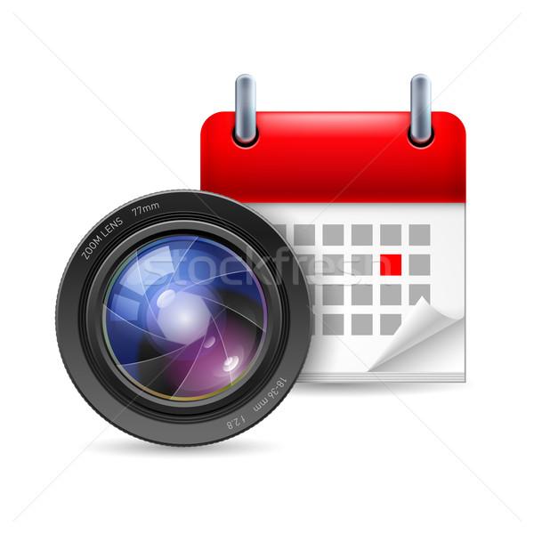 Kameralencse naptár ikon szem művészet fotó Stock fotó © dvarg