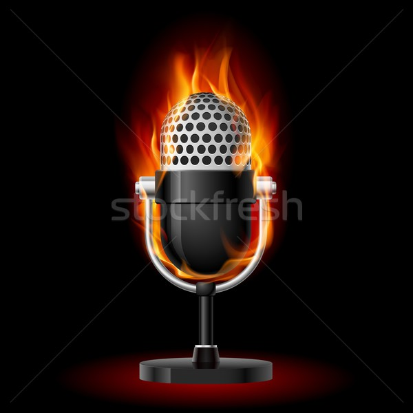 Old Microphone in Fire. Stock photo © dvarg