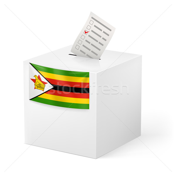 Ballot box with voting paper. Zimbabwe Stock photo © dvarg