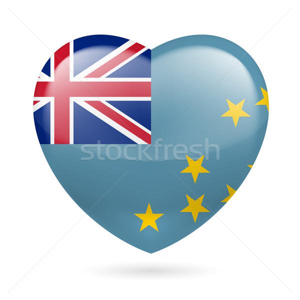 Coração ícone Tuvalu amor bandeira projeto Foto stock © dvarg