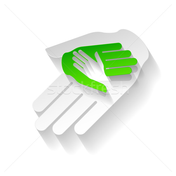 Kâğıt eller yardım simge stil yardım Stok fotoğraf © dvarg