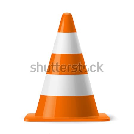 Trafic cône blanche orange route signe Photo stock © dvarg