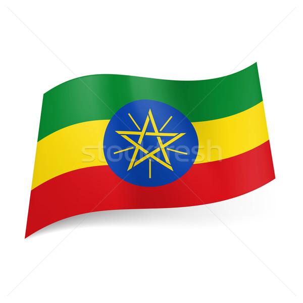 Banderą Etiopia zielone żółty czerwony poziomy Zdjęcia stock © dvarg