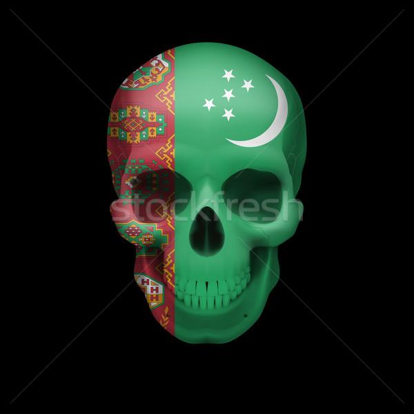 Turkmenian flag skull Stock photo © dvarg