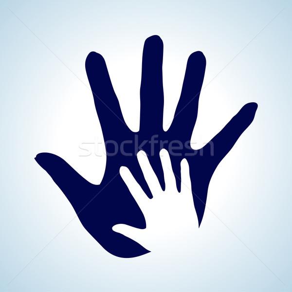 Segítő kéz kéz illusztráció fehér kék ötlet Stock fotó © dvarg