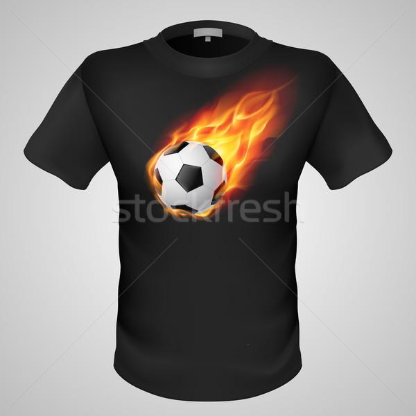 Masculina camiseta impresión negro ardiente fútbol Foto stock © dvarg