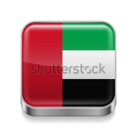 Metal ícone Emirados Árabes Unidos praça bandeira cores Foto stock © dvarg