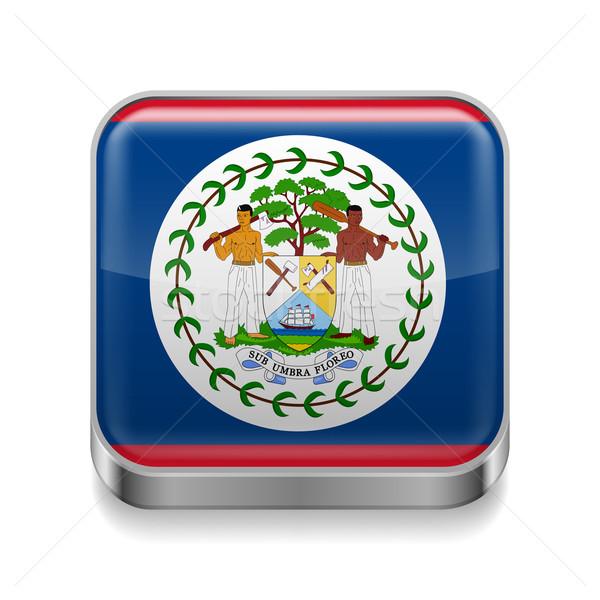 Fém ikon Belize tér zászló színek Stock fotó © dvarg