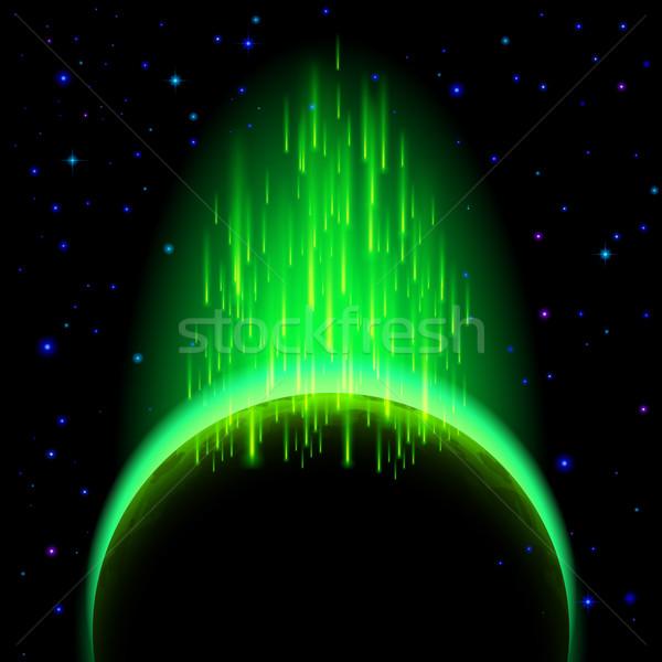 Foto stock: Escuro · planeta · labareda · espaço · verde · estrela