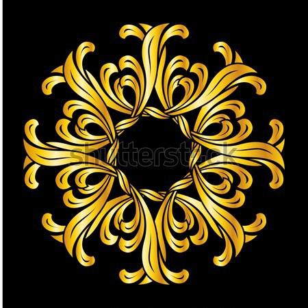Zdjęcia stock: Kwiatowy · wzór · streszczenie · złoty · kolory · czarny