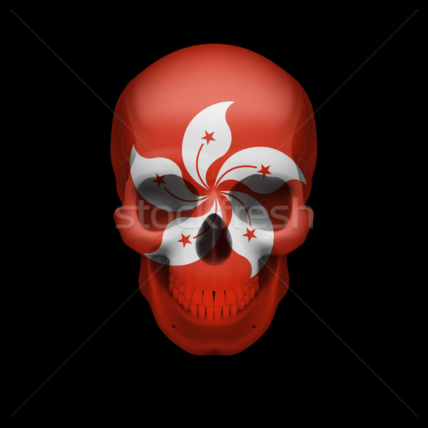 Hong Kong flag skull Stock photo © dvarg