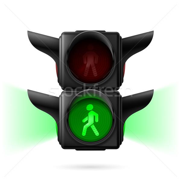 Piéton feux de circulation réaliste vert lumière illustration Photo stock © dvarg