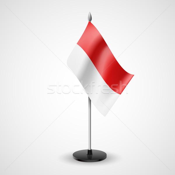 Tabeli banderą Monaco model świat konferencji Zdjęcia stock © dvarg