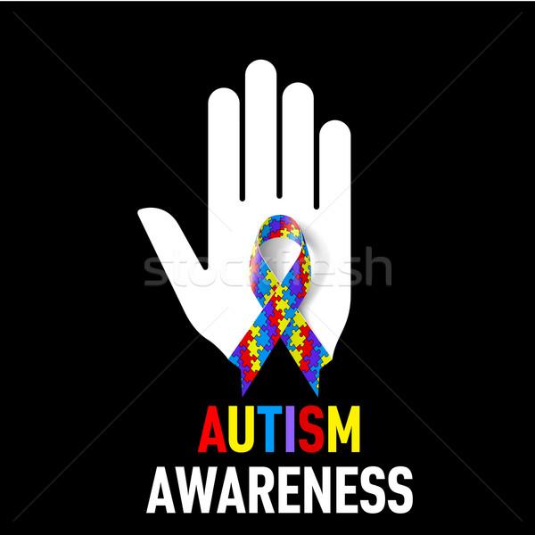 Autizmus tudatosság felirat fehér kéz puzzle Stock fotó © dvarg