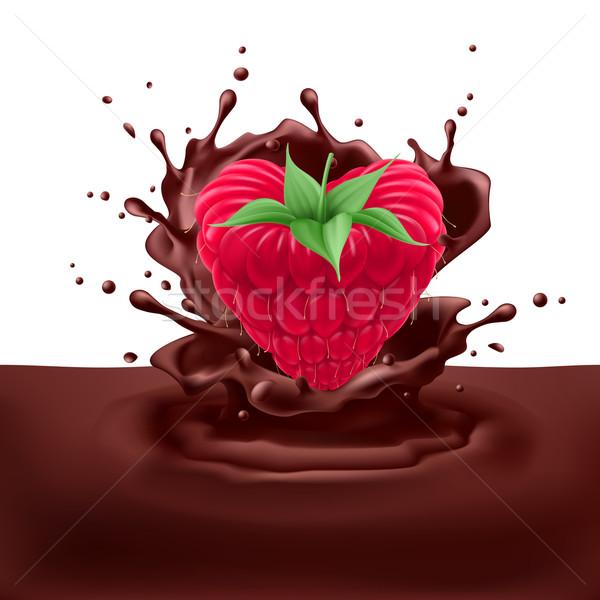 Raspberry heart with chocolate Stock photo © dvarg